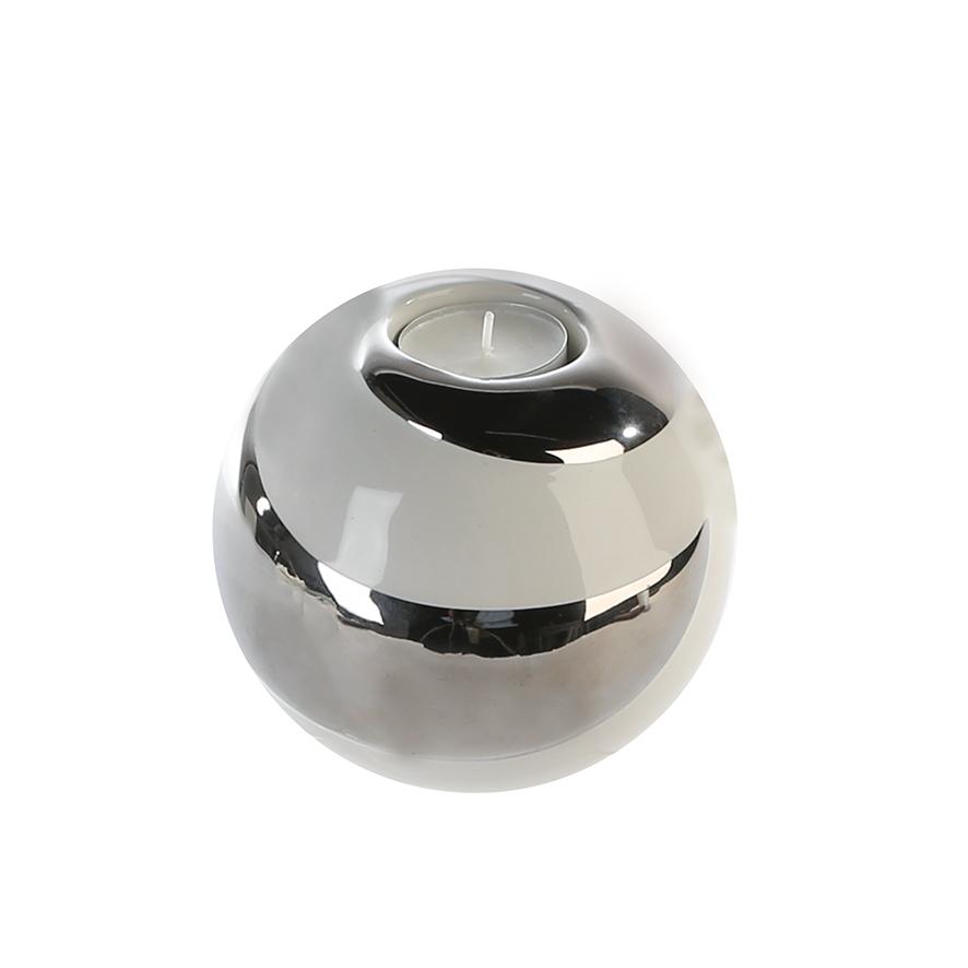 Čajový svícen Bard, 11,5 cm, bílá / stříbrná