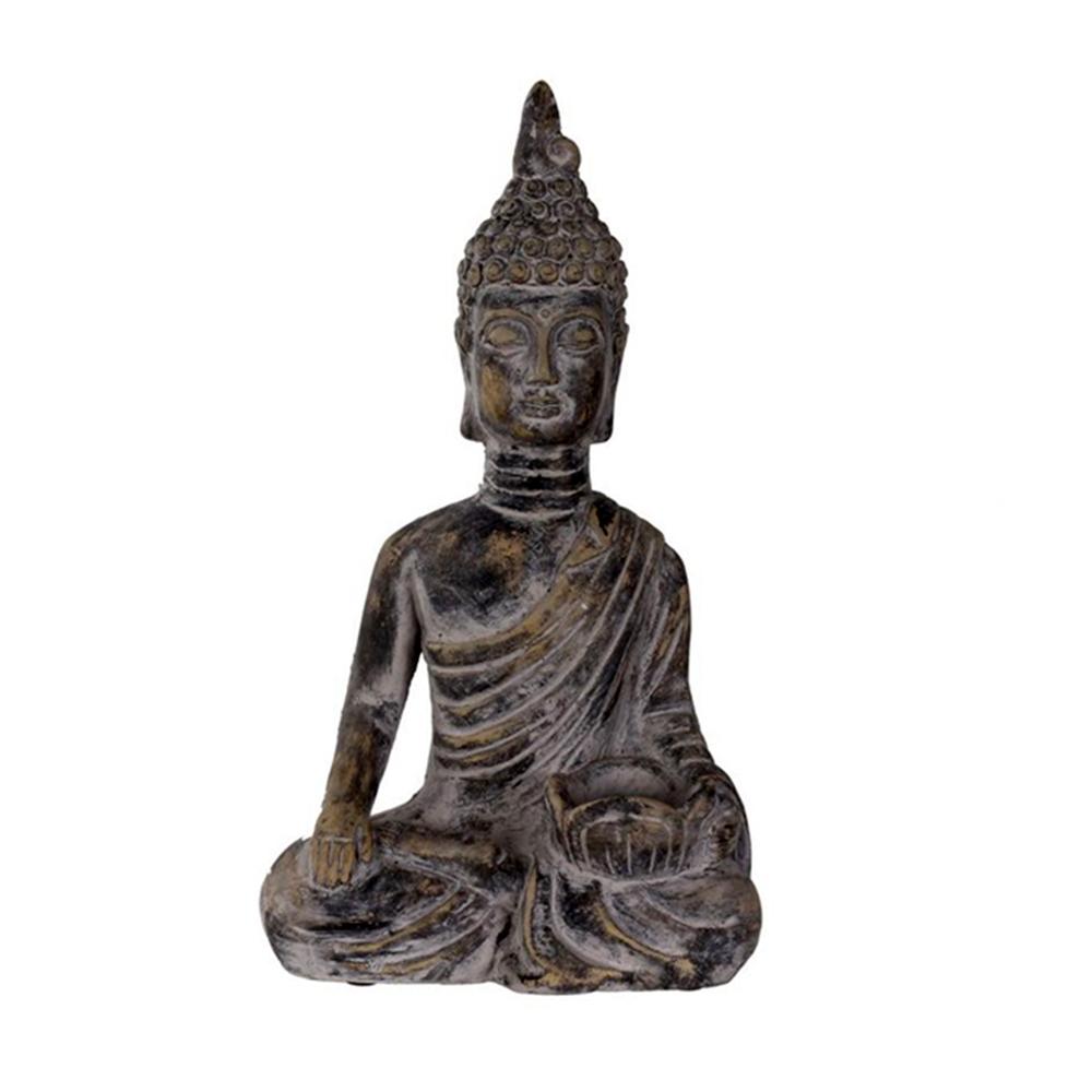 Čajový svícen Buddha, 34,5 cm, černý beton