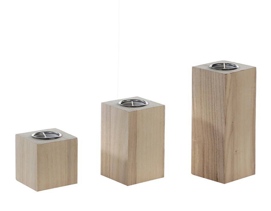 Čajový svícen dřevěný Eco, 18 cm