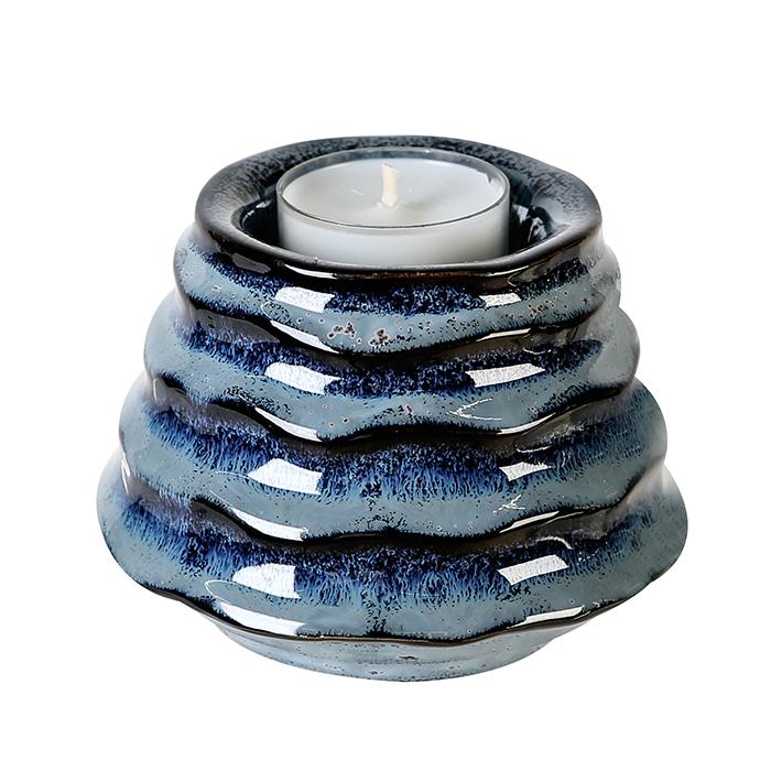 Čajový svícen keramický Foggia, 10 cm, modrá