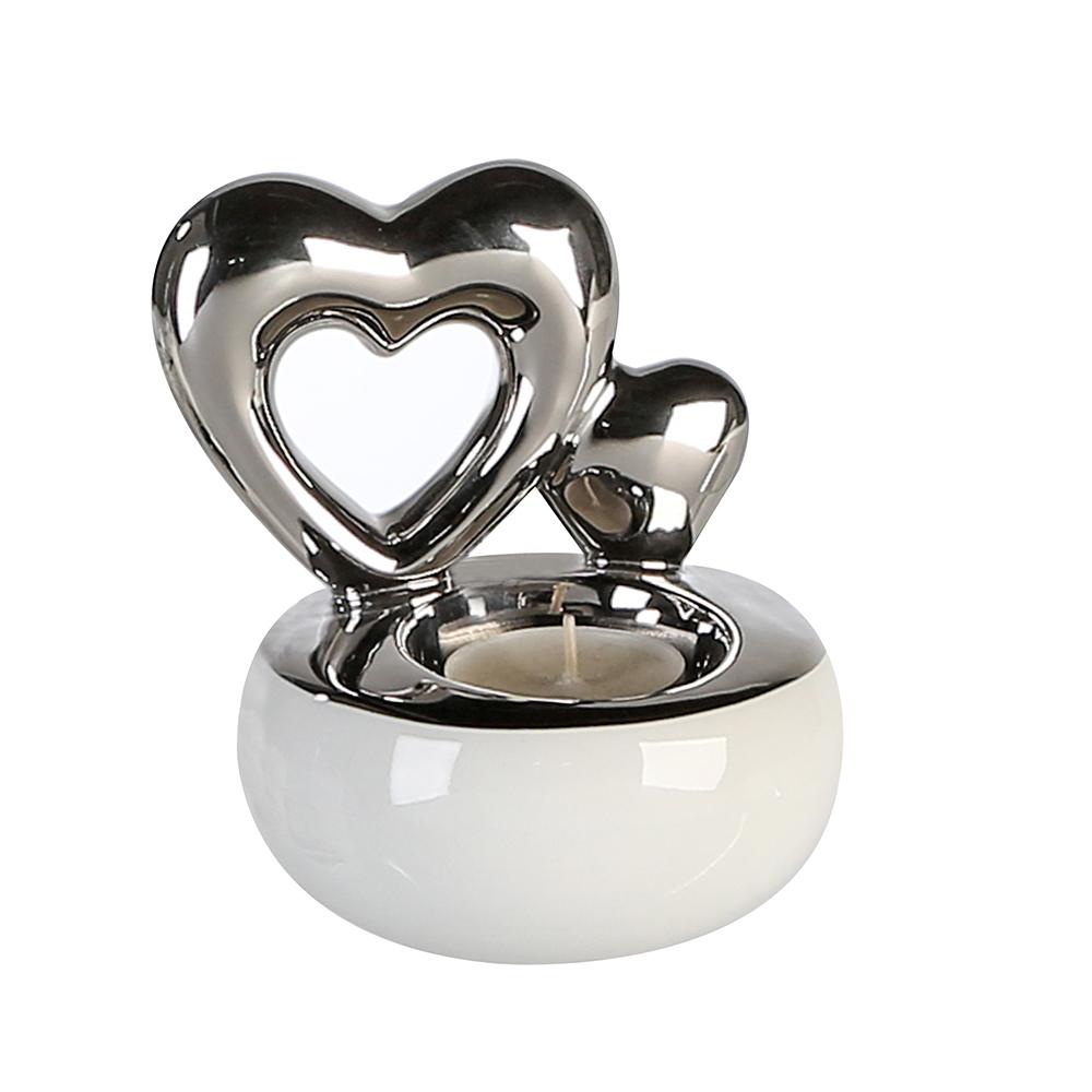 Čajový svícen keramický Hearts, 12 cm, bílá/stříbrná