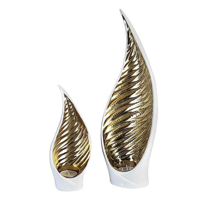 Čajový svícen keramický Sagrada, 24 cm, bílá/zlatá