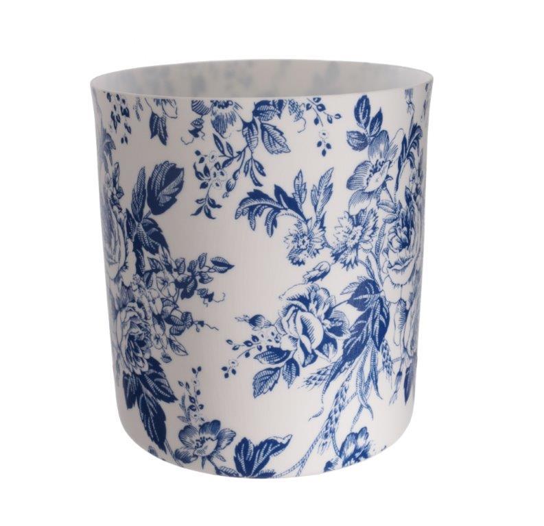 Čajový svícen porcelánový Dahlia, 9 cm, bílá/modrá