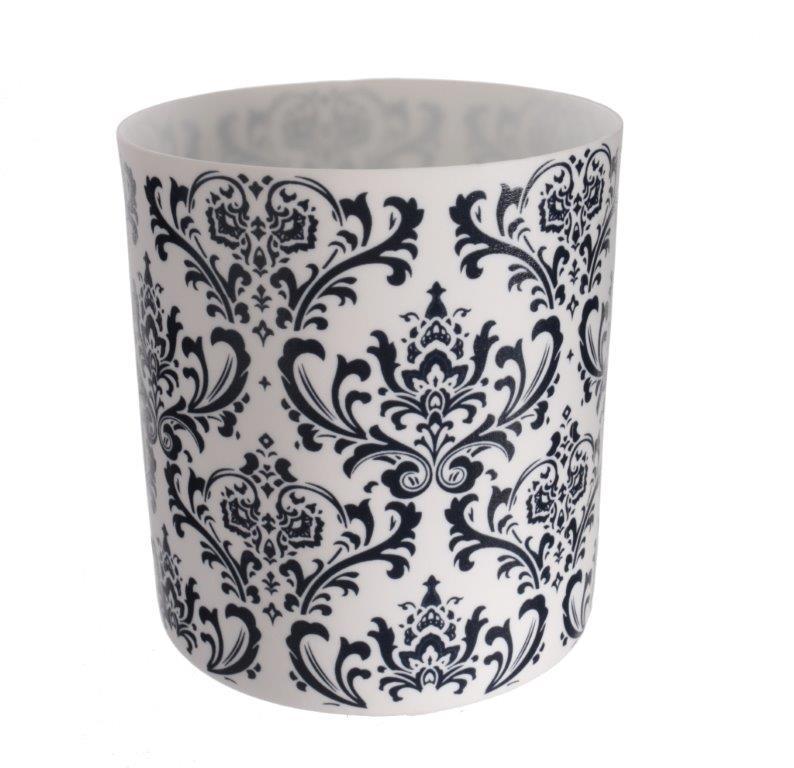 Čajový svícen porcelánový Dahlia, 9 cm, bílá/tm. modrá