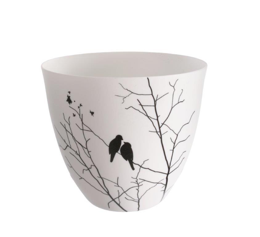 Čajový svícen porcelánový Porslin, 9 cm, bílá/černá