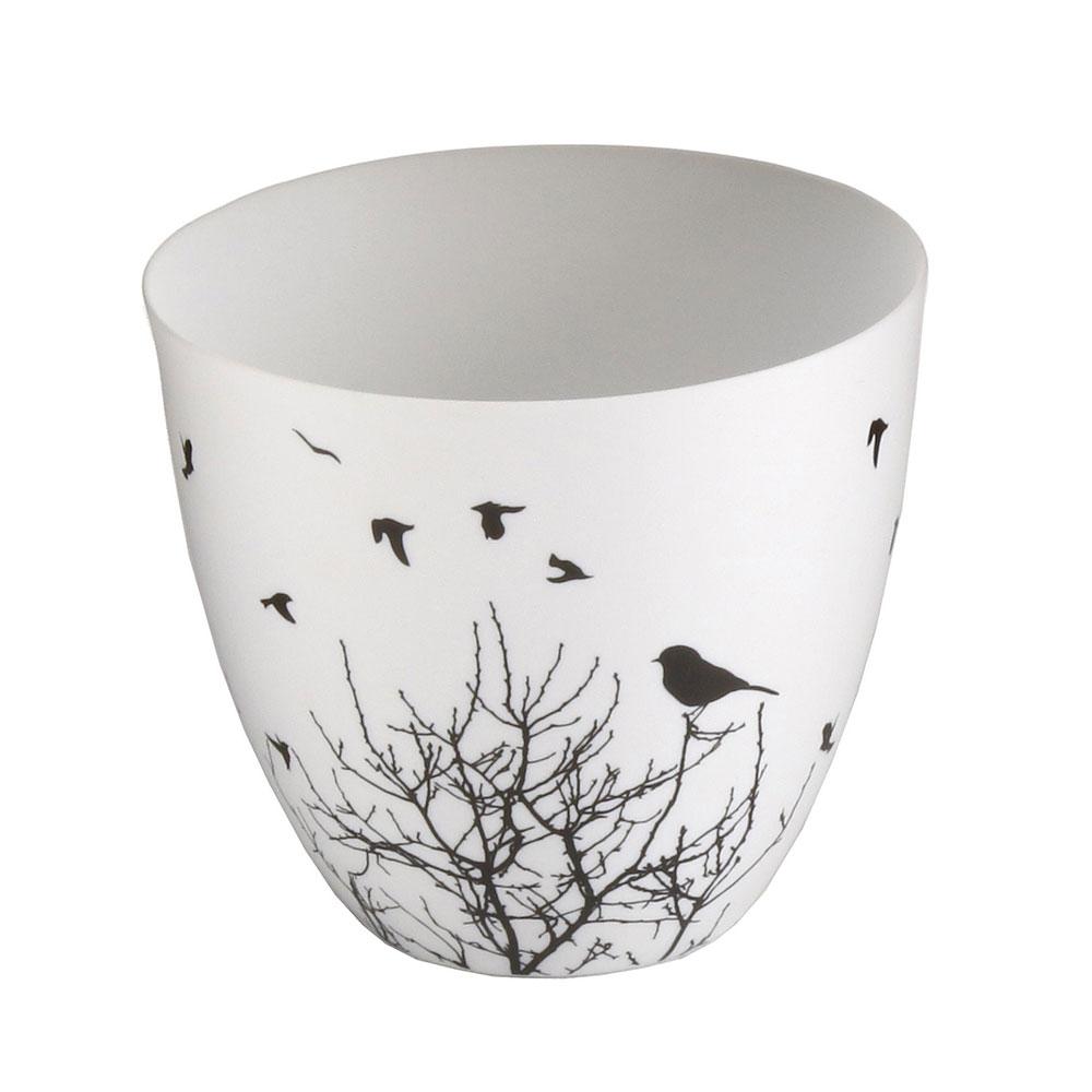 Čajový svícen porcelánový Porslin II., 9 cm, bílá/černá
