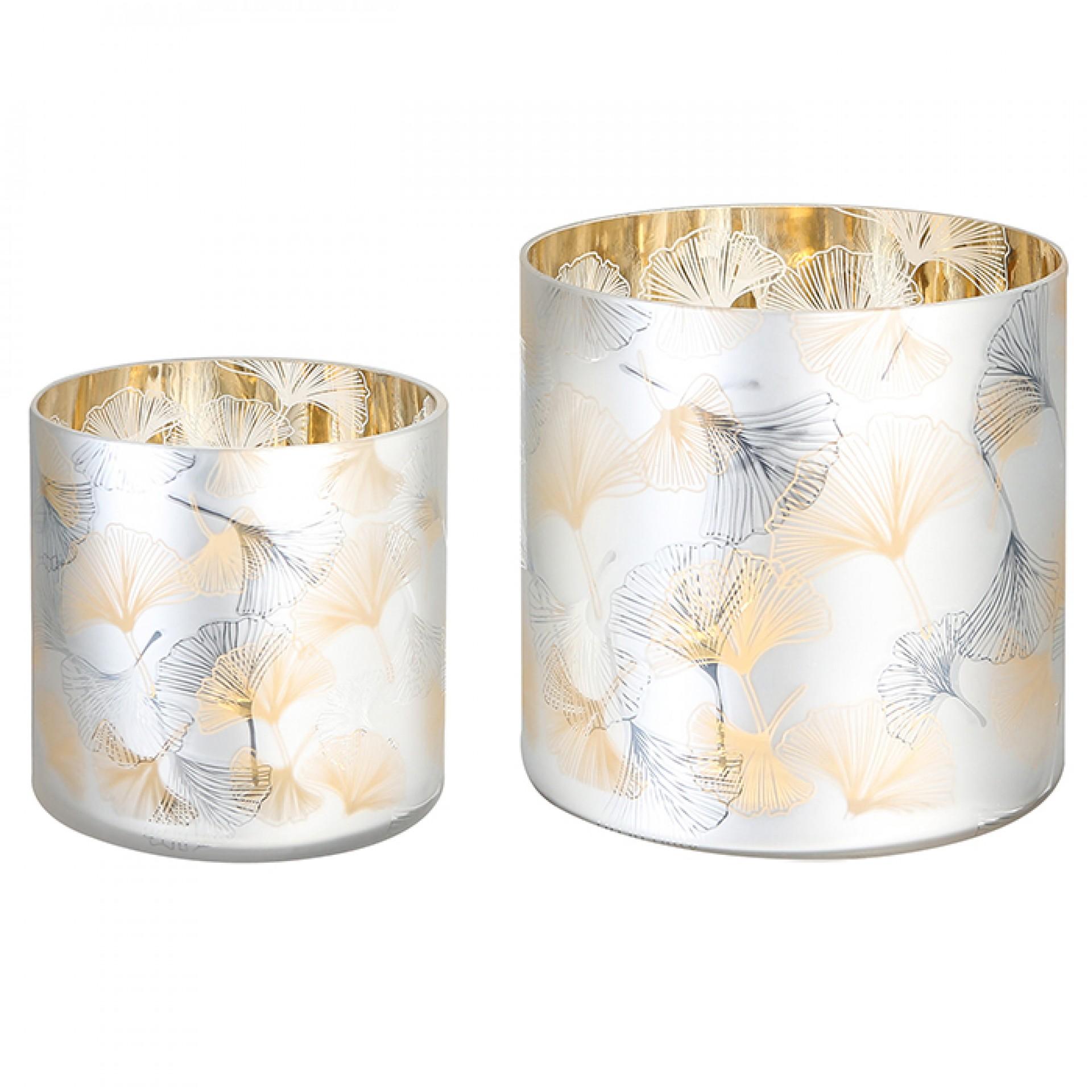 Čajový svícen skleněný Ginkgo, 15 cm