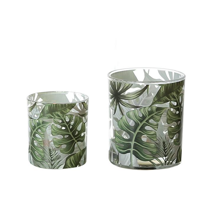 Čajový svícen skleněný Palm Leaf, 10 cm