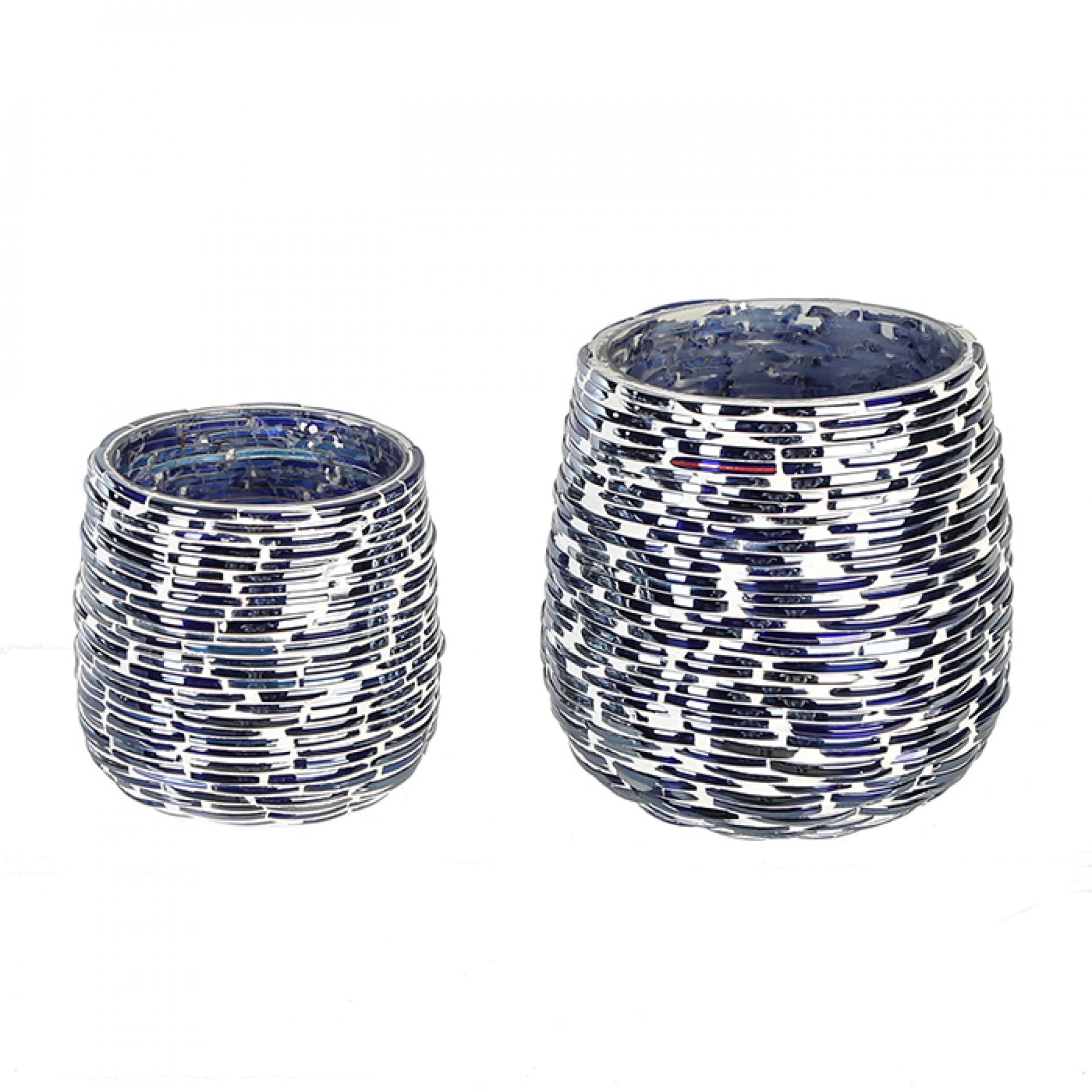 Čajový svícen skleněný Stroke, 10 cm, modrá