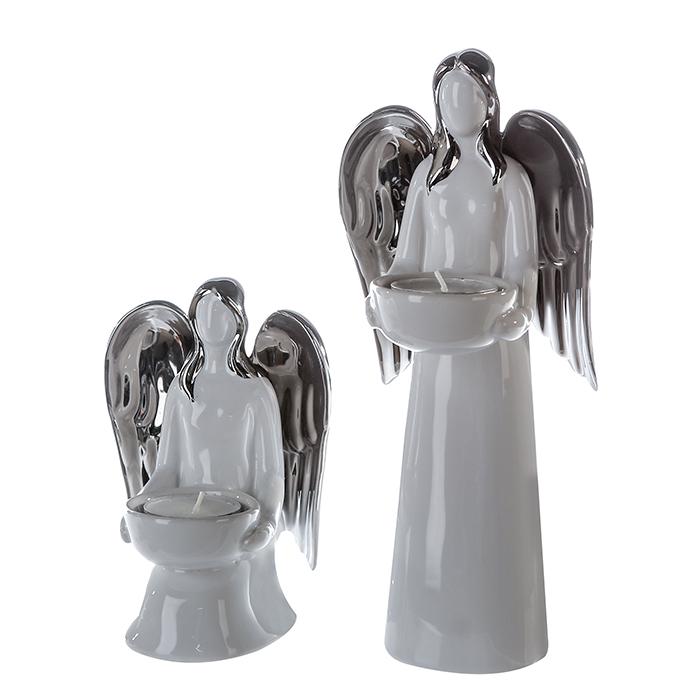 Čajový svícen stojící Anděl, 25 cm