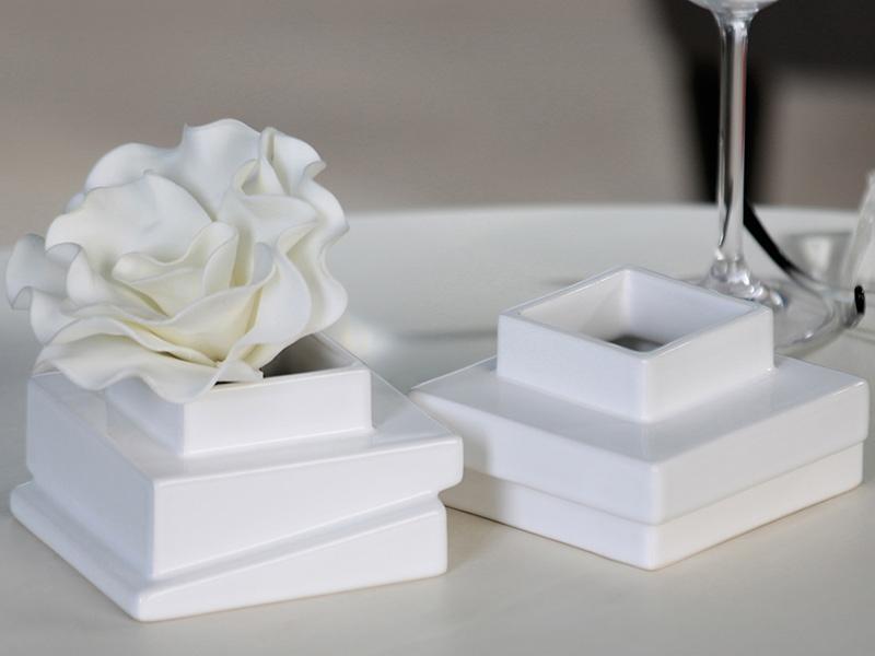 Čajový svícen / váza Blocks, sada 2 ks, bílá