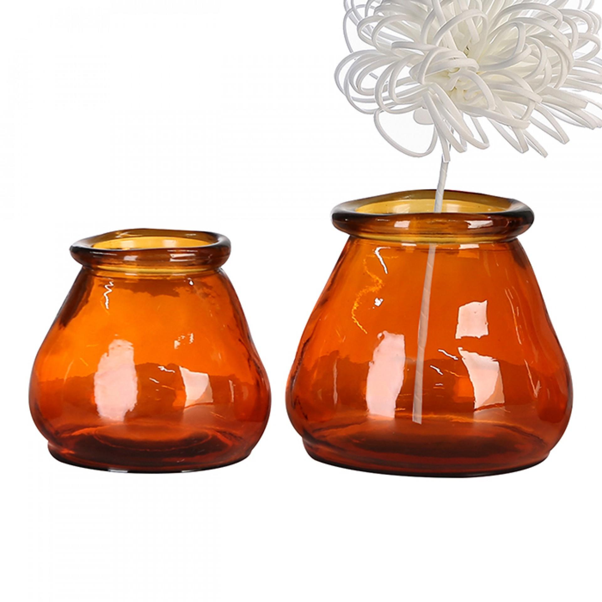 Čajový svícen z recyklovaného skla Gerona, 12 cm, oranžová