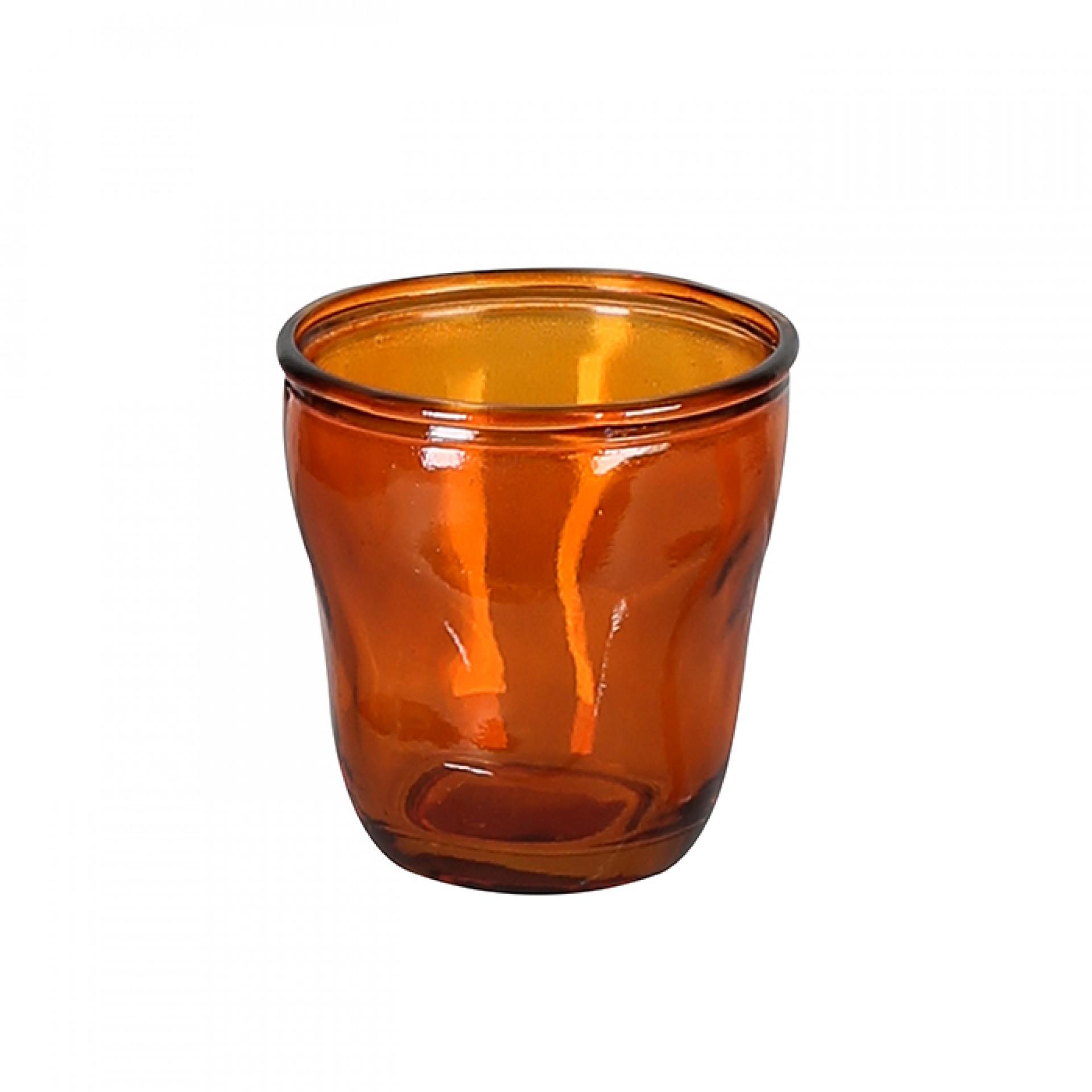 Čajový svícen z recyklovaného skla Gerona, 9 cm, oranžová