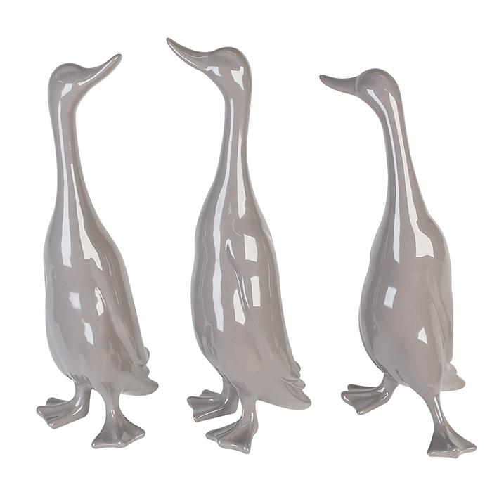 Dekorace Kráčející kachny, 48 cm, sada 3 ks, světle šedá