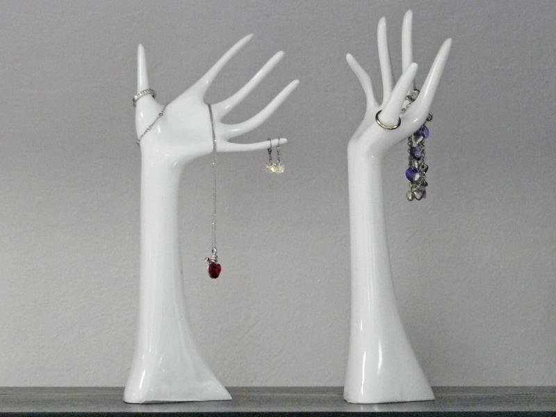 Dekorácia / stojan na šperky Hands, sada 2 ks, biela, biela