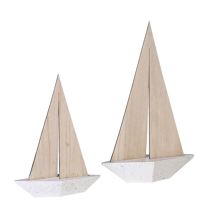 Dekorativní loďka Woody, beton/dřevo, 35 cm