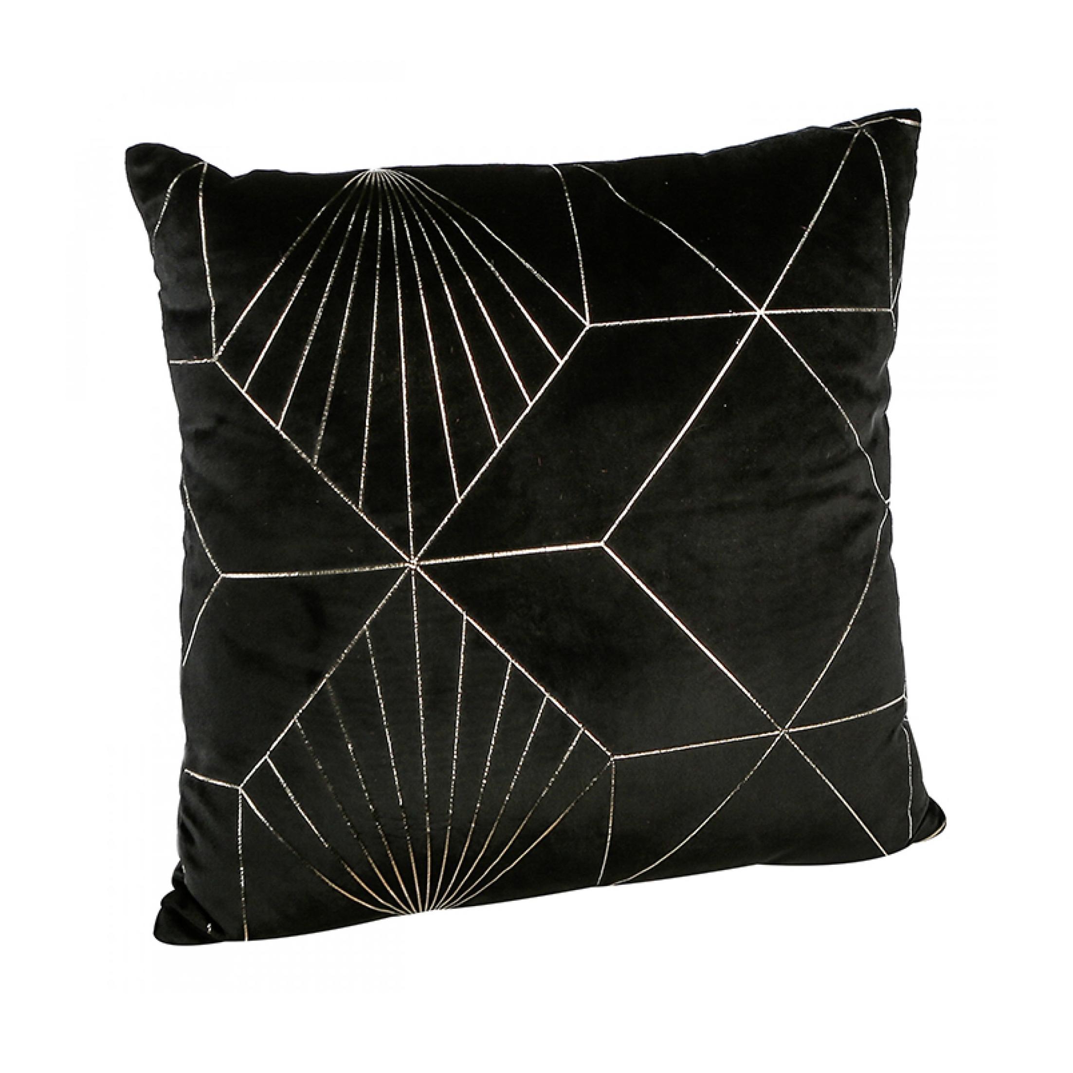 Dekorativní polštář Graphic, 45 cm, černá/zlatá