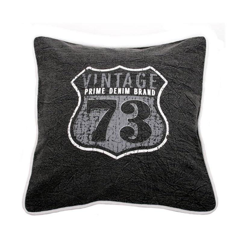 Dekorativní polštář Vintage, 45 cm, černá