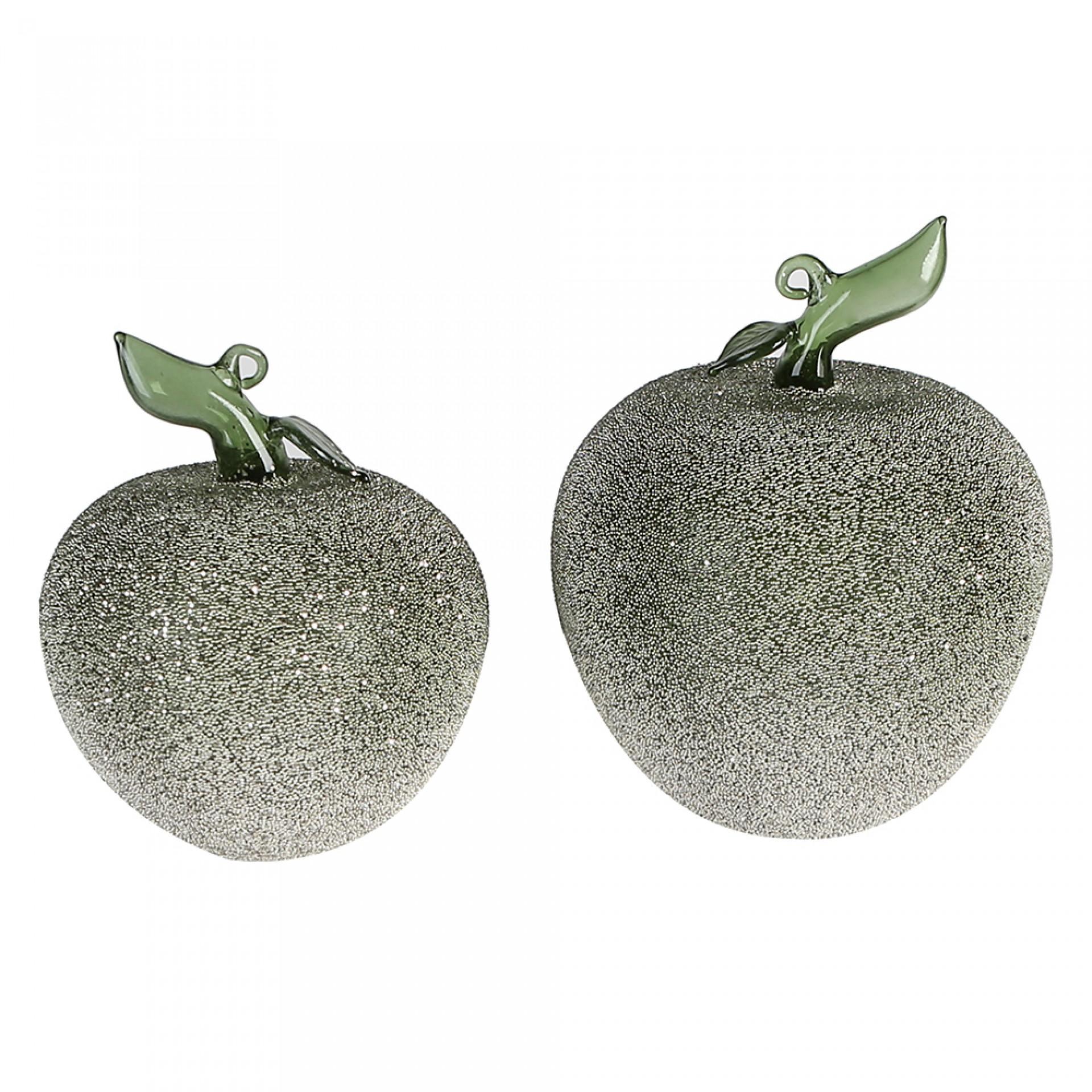 Dekorativní skleněné jablko Pearl, 13 cm