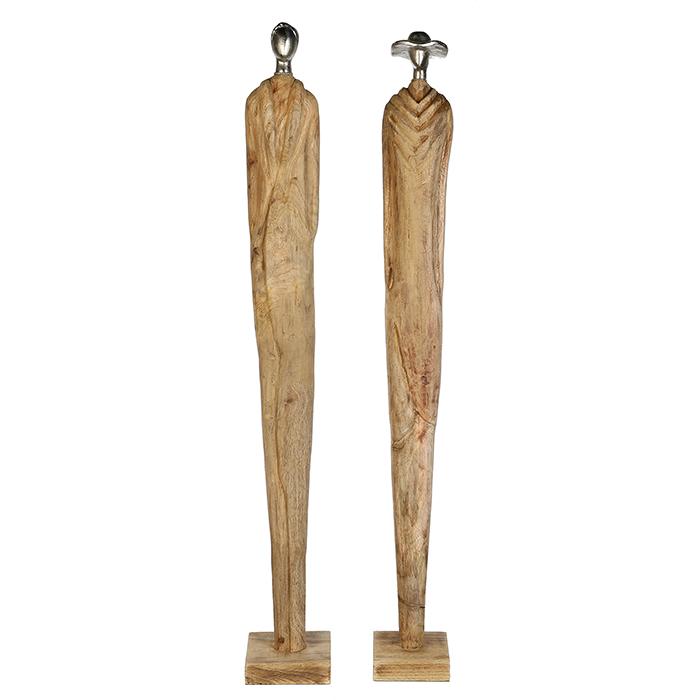 Dekorativní soška Oleg, 95,5 cm, přírodní dřevo