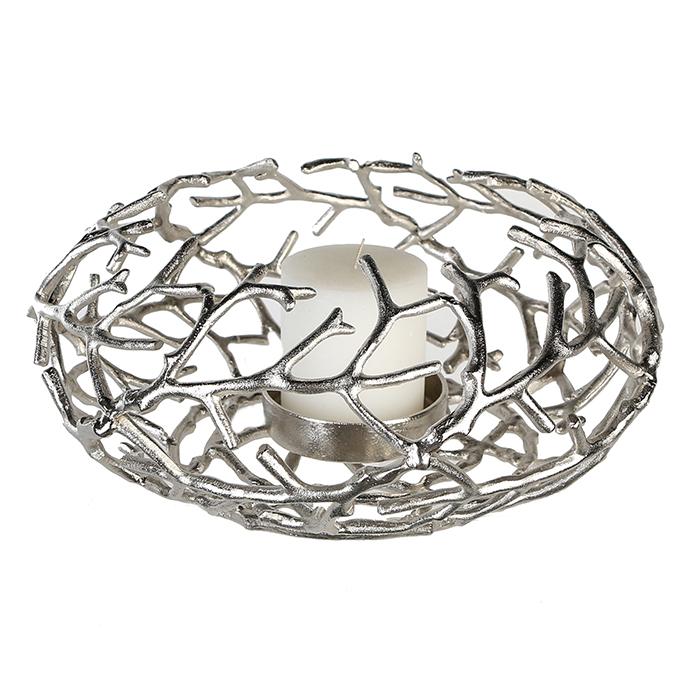 Dekorativní svícen Fabrizo, 42 cm, stříbrná