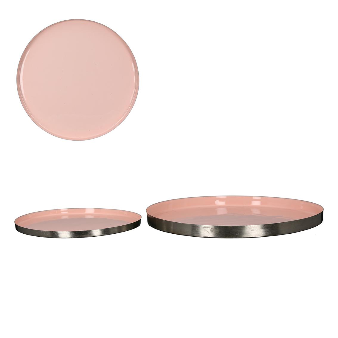 Dekorativní talíř Jake, 30 cm, růžová / stříbrná