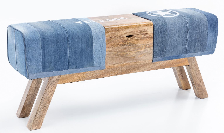 Denimová lavice s dřevěným boxem, 120 cm, modrá