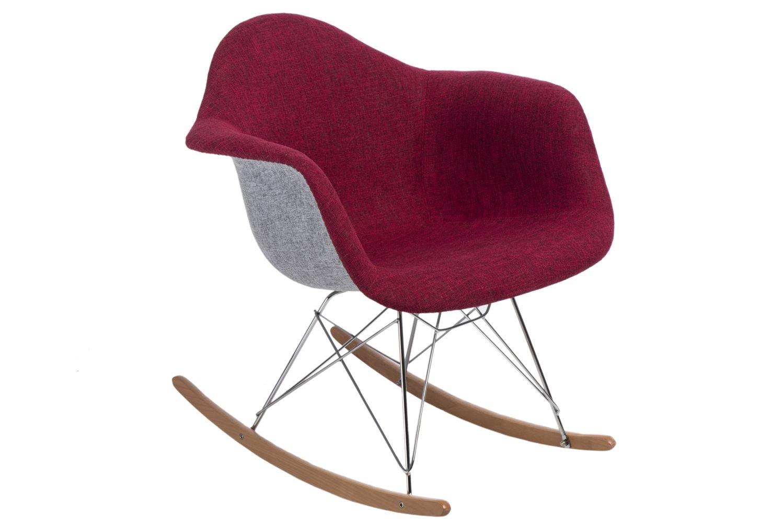 Designové houpací křeslo Blom čalouněné, šedá/červená