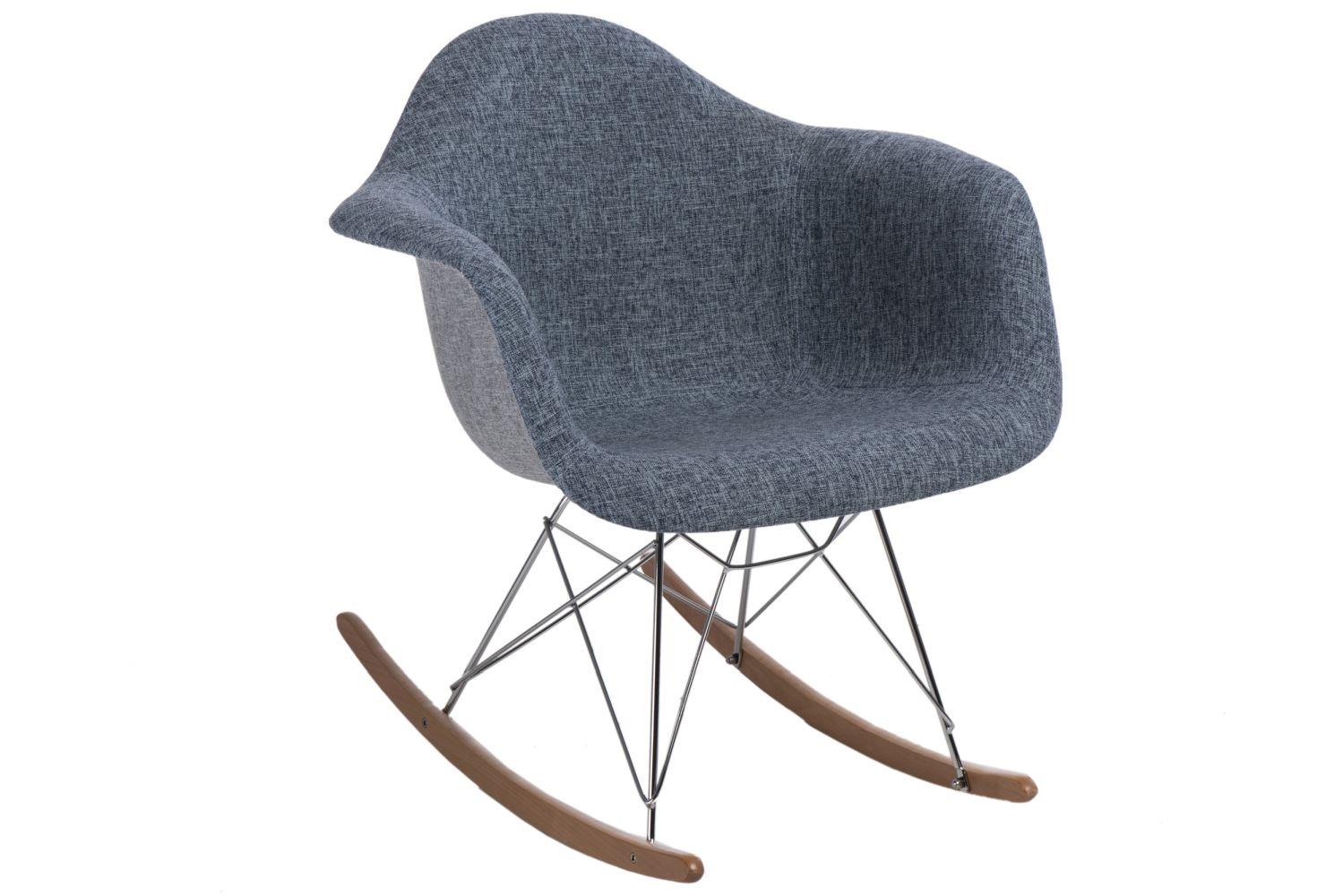 Designové houpací křeslo Blom čalouněné, šedá/modrá
