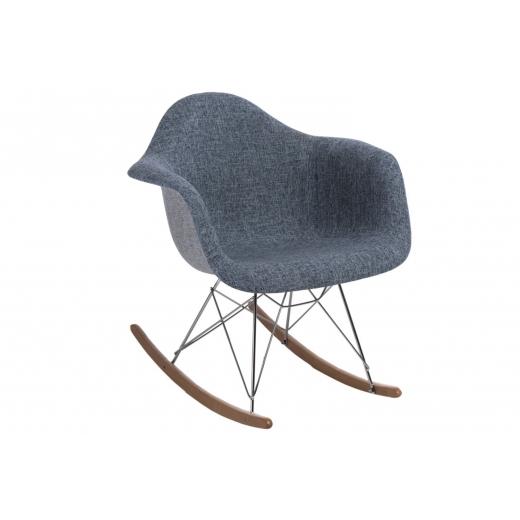 Pohodlné čalouněné Houpací Křeslo Blom šedámodrá Design