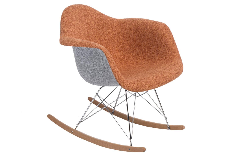 Designové houpací křeslo Blom čalouněné, šedá/oranžová