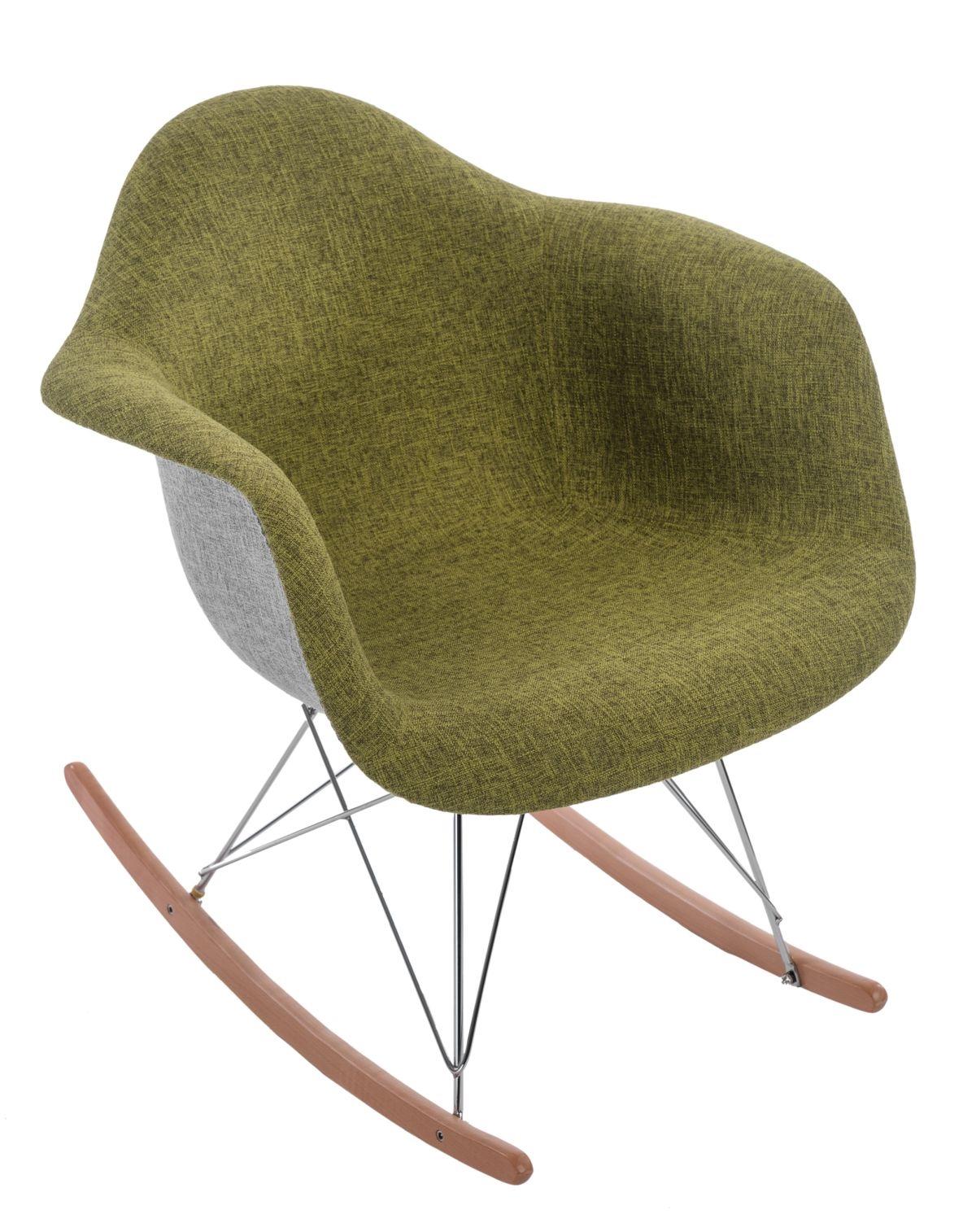 Designové houpací křeslo Blom čalouněné, šedá/zelená