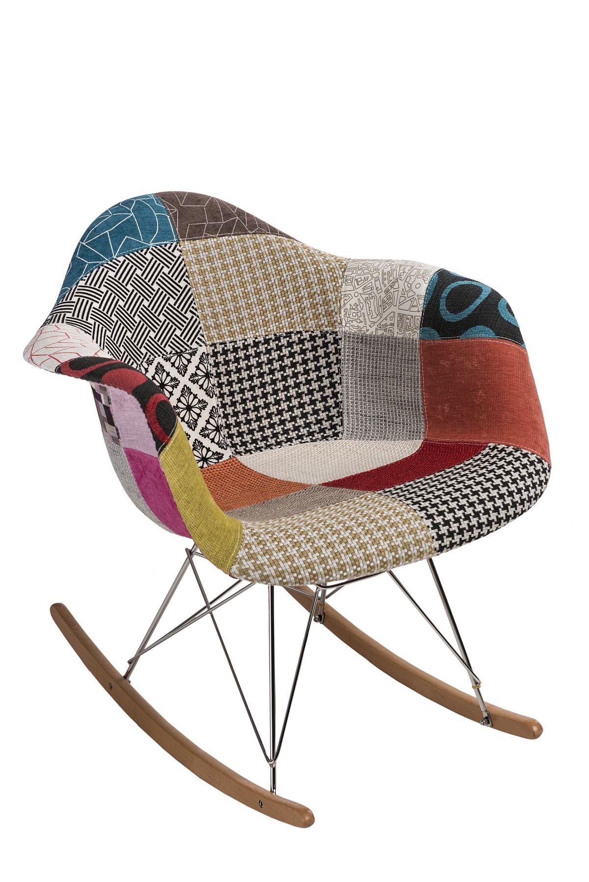 Designové houpací křeslo Blom patchwork, barevná