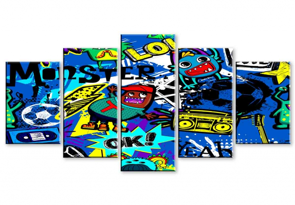 Dětský obraz Bláznivé graffiti, 200x100 cm