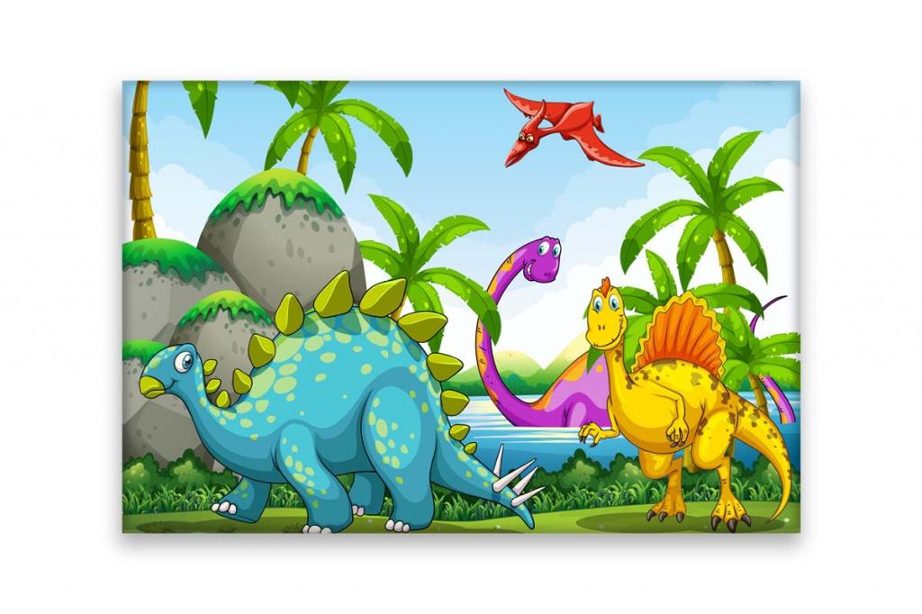 Dětský obraz Dinosauři, 90x60 cm