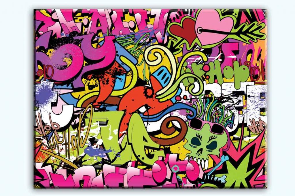 Dětský obraz Dívčí graffiti, 80x60 cm