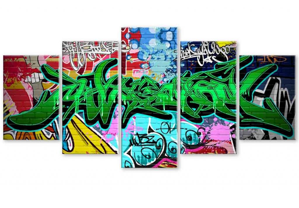Dětský obraz graffiti greenery, 100x50 cm