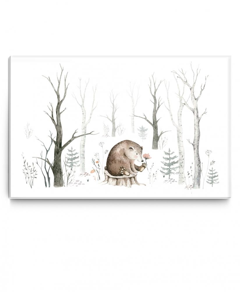 Dětský obraz Malovaný medvídek, 120x80 cm
