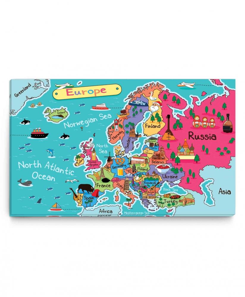 Dětský obraz Mapa Evropa, 150x90 cm