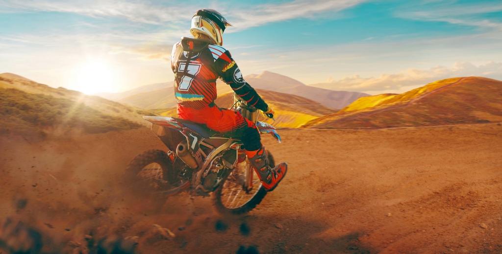 Dětský obraz Motorkář v poušti, 80x40 cm