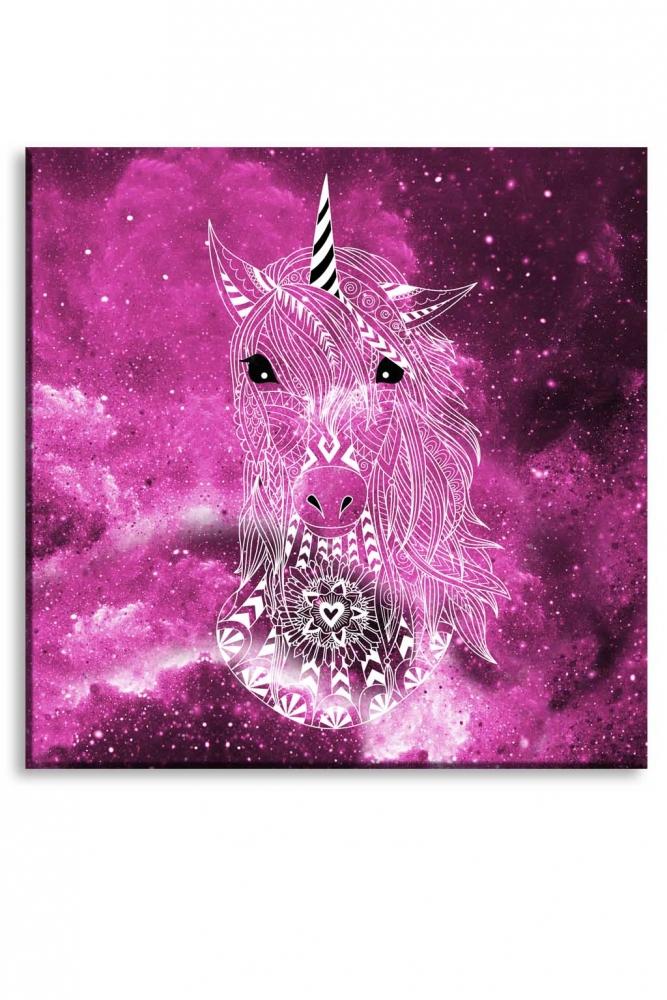 Dětský obraz růžový jednorožec, 100x100 cm