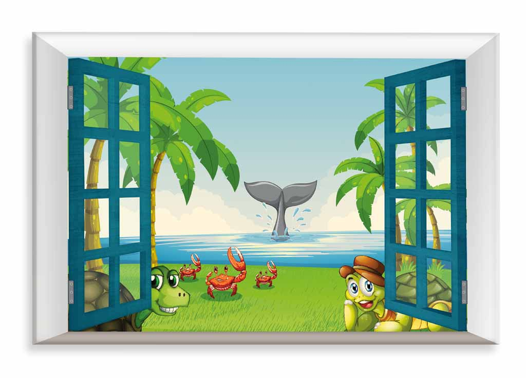 Dětský obraz Zvířátka na pláži, 90x60 cm