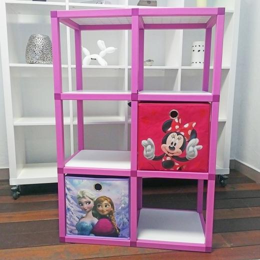 61f51d2d1a41 Detský regál MODlife 6 + 2 úložné boxy Minnie Mouse C a Frozen A ...