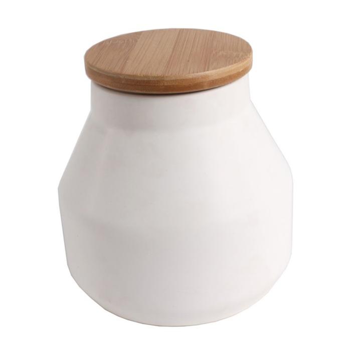 Dóza kónická s dřevěným víkem Sover, 13,5 cm, bílá