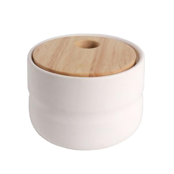 Dóza s dřevěným víkem Sover, 10 cm, bílá