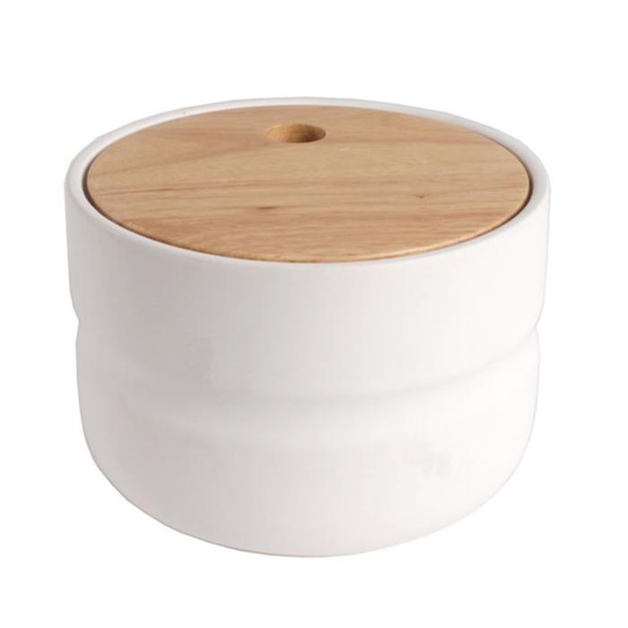 Dóza s dřevěným víkem Sover, 14,7 cm, bílá