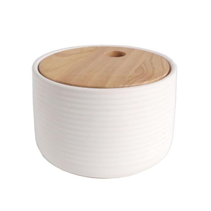 Dóza s vroubkováním a dřevěným víkem Sover, 12,5 cm, bílá