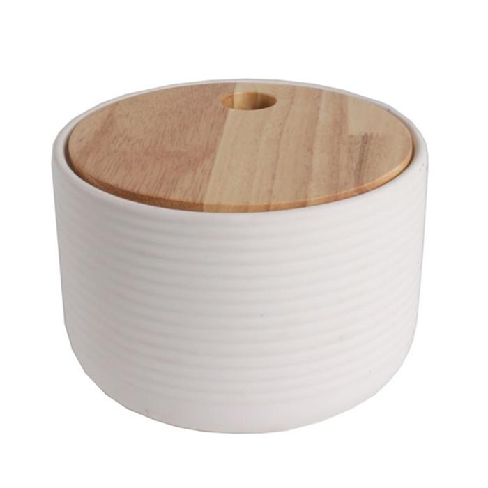 Dóza s vroubkováním dřevěným víkem Sover, 14,7 cm, bílá