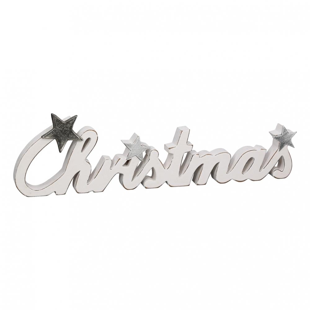Dřevěný nápis Christmas, 37 cm, bílá
