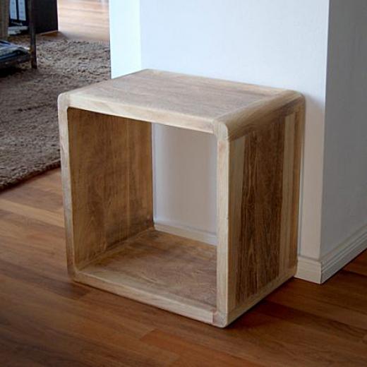 Konferenční Stolek Dřevěný Retro Cube 52x52 Cm Design Outlet